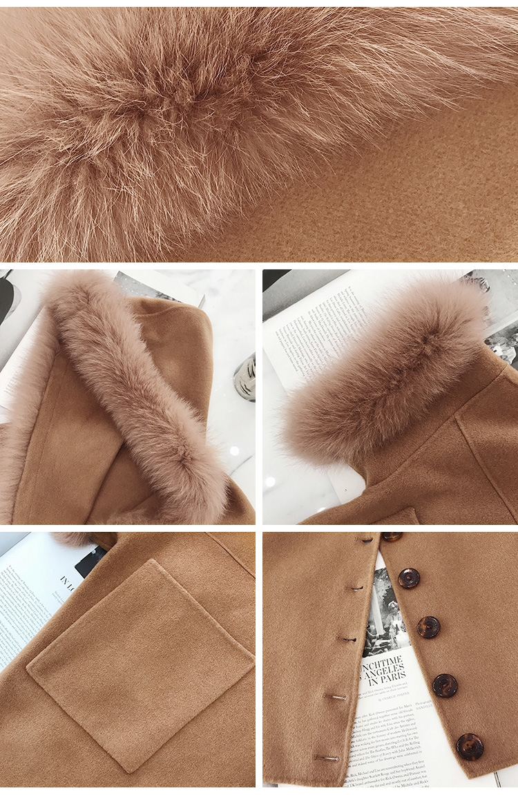 Hooded Cashmere Poncho Coat with Fox Fur Trim 0055-1