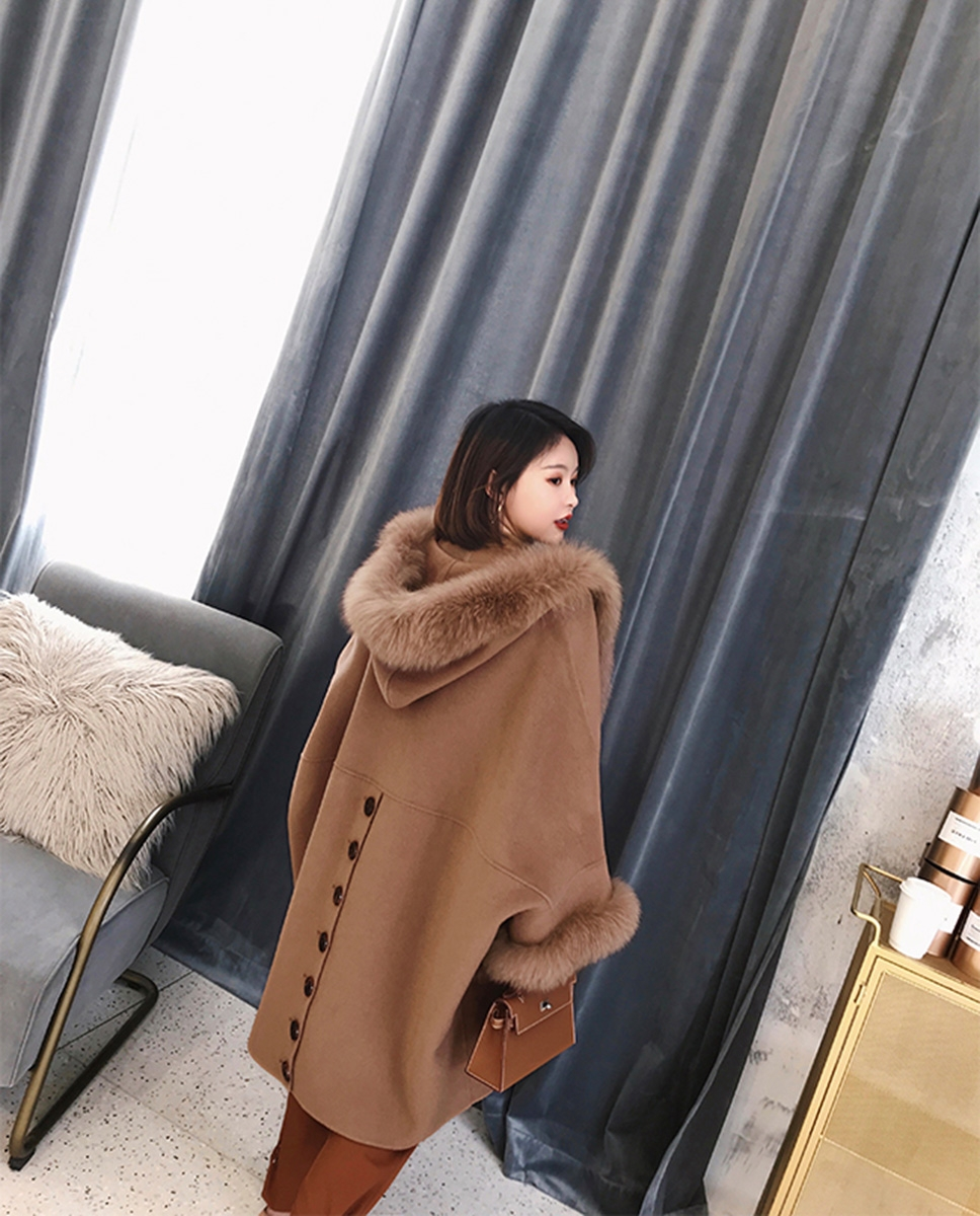 Hooded Cashmere Poncho Coat with Fox Fur Trim 0055-3