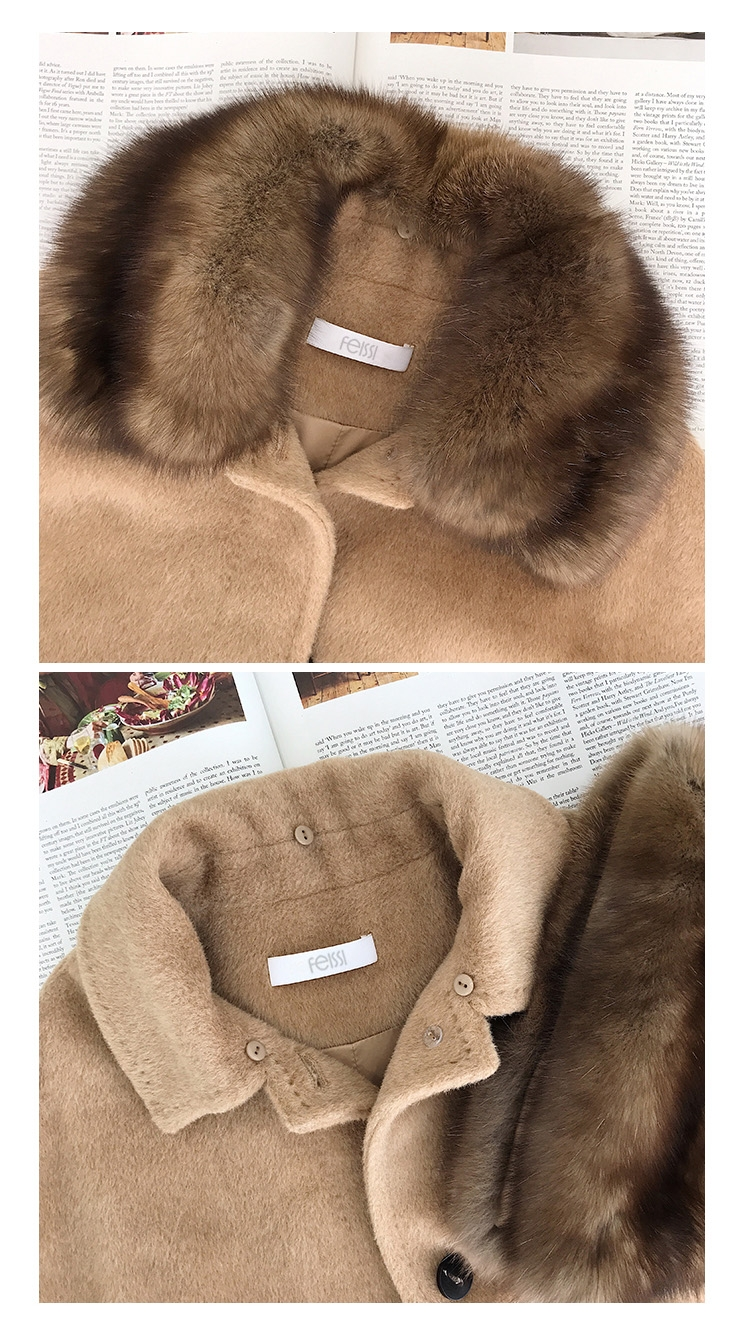 Belted Long Woolen Coat with Sable Fur Trimmed Collar 0057-1