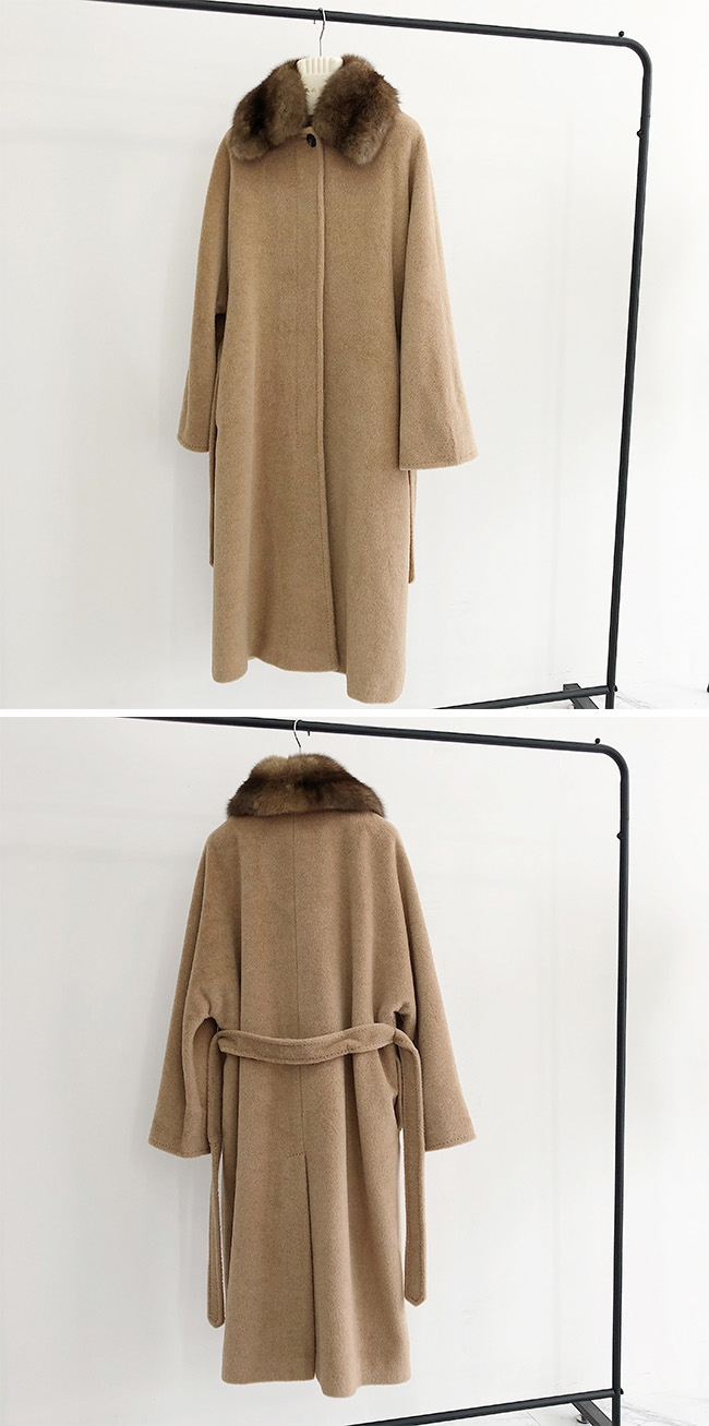 Belted Long Woolen Coat with Sable Fur Trimmed Collar 0057-4