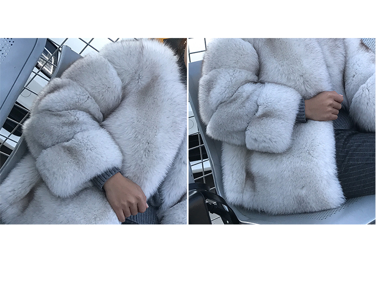Blue Fox Fur Coat 006 Details 12