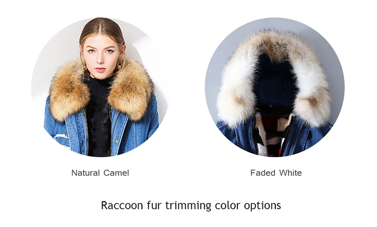 Raccoon Fur Trimmed Hooded Denim Parka with Detachable Mink Fur Liner 0066-0
