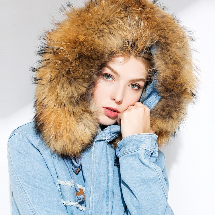 Raccoon Fur Trimmed Hooded Denim Parka with Detachable Mink Fur Liner 0066-1