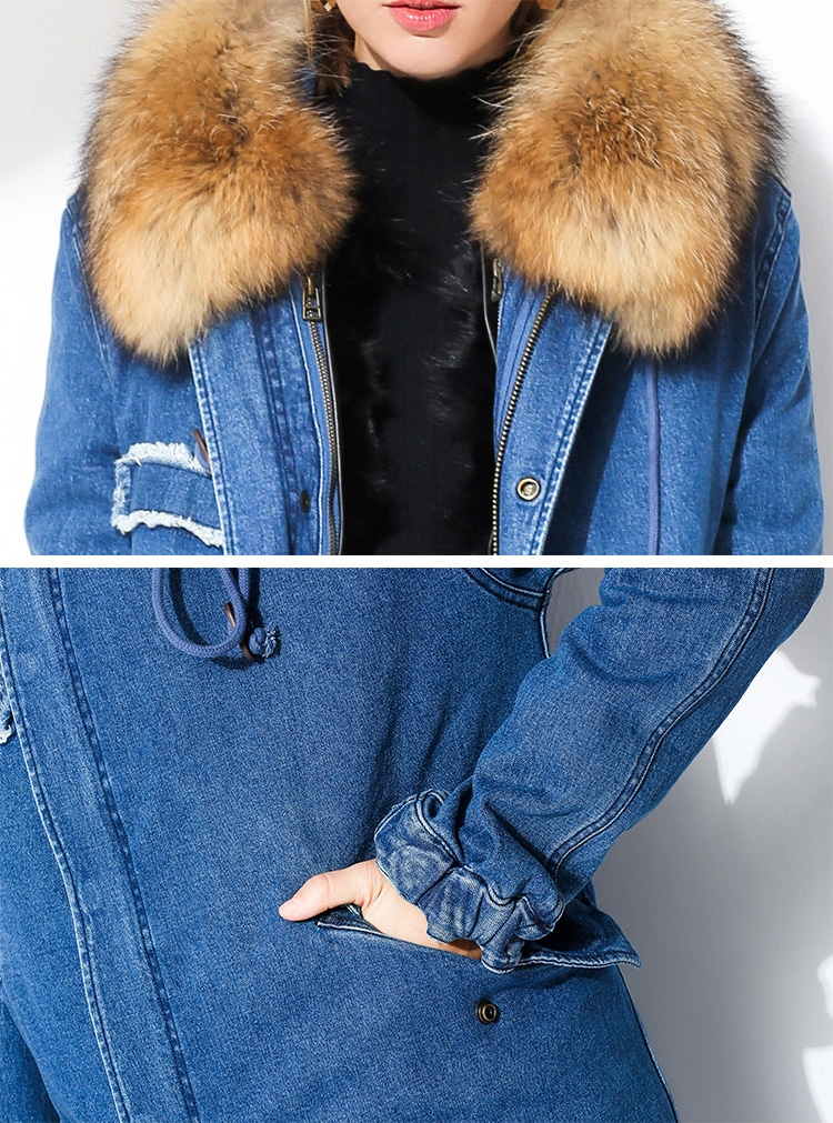 Raccoon Fur Trimmed Hooded Denim Parka with Detachable Mink Fur Liner 0066-4