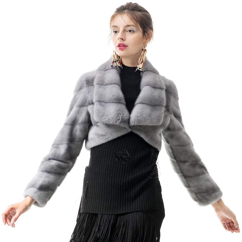 Mink Fur Cropped Bolero Jacket 0088-3