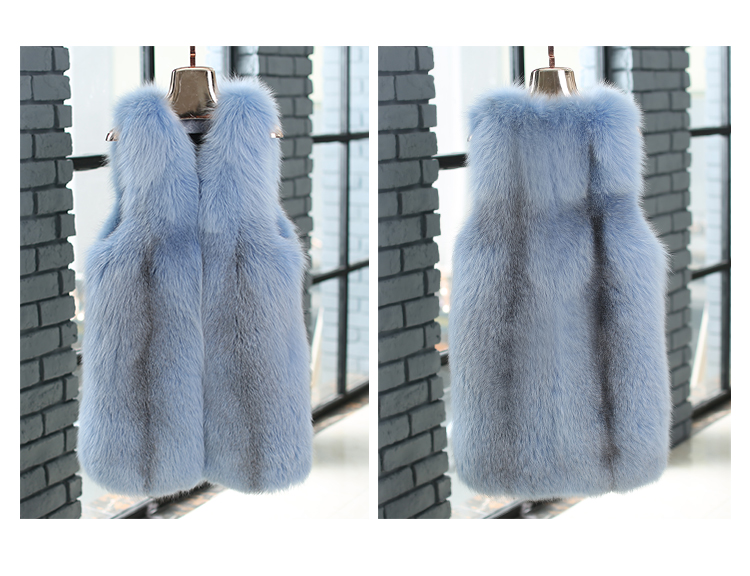 Shadow Blue Frost Fox Fur Vest 009 Details 2