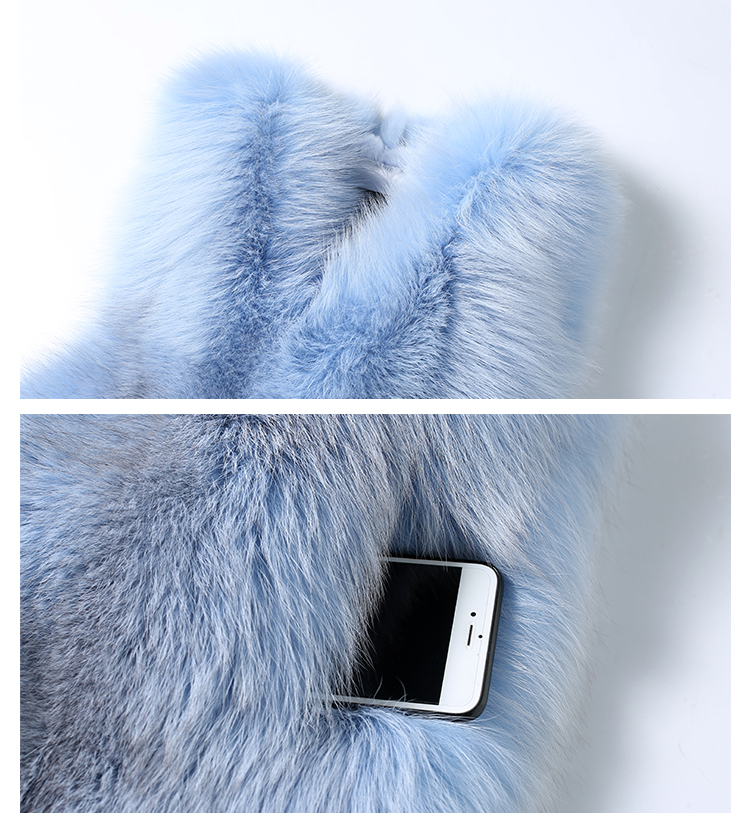 Shadow Blue Frost Fox Fur Vest 009 Details 3