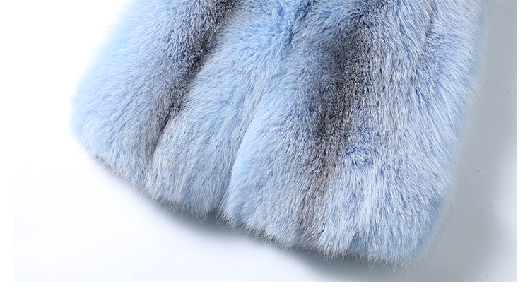 Shadow Blue Frost Fox Fur Vest 009 Details 4