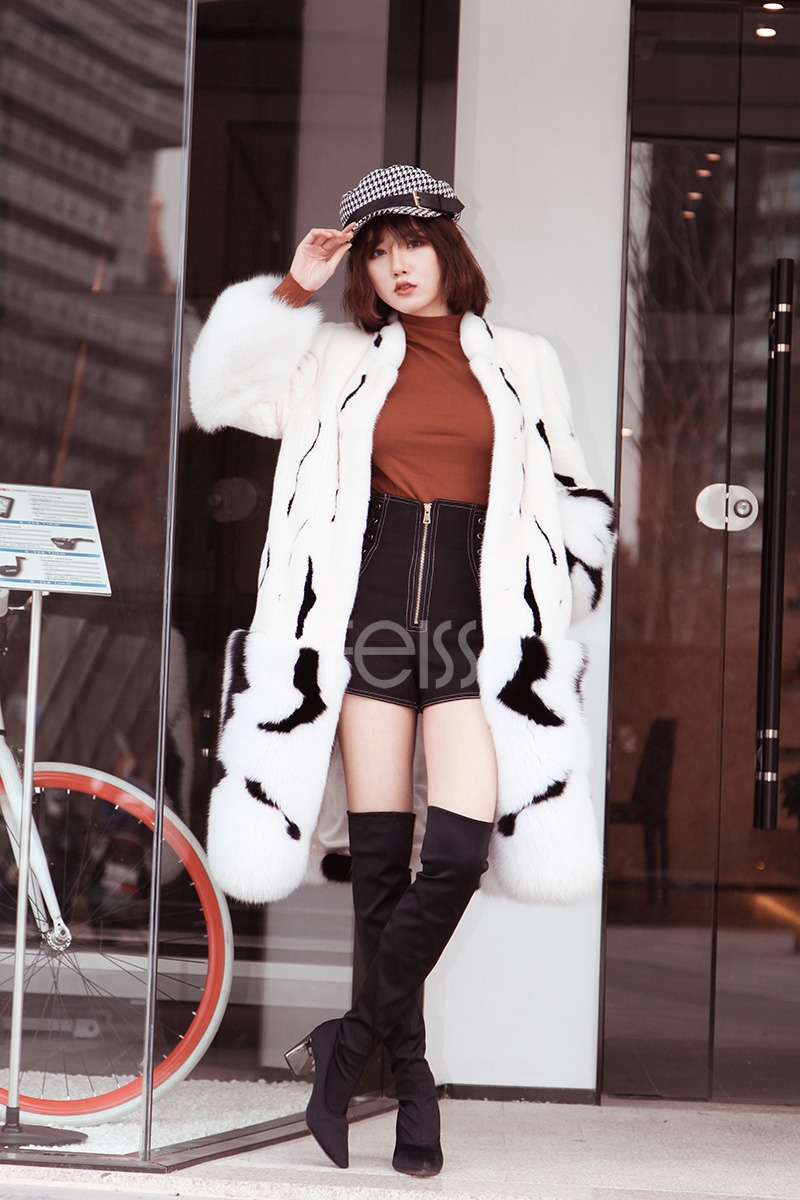 Mink Fur Long Coat With Fox Fur Trim 0094-4