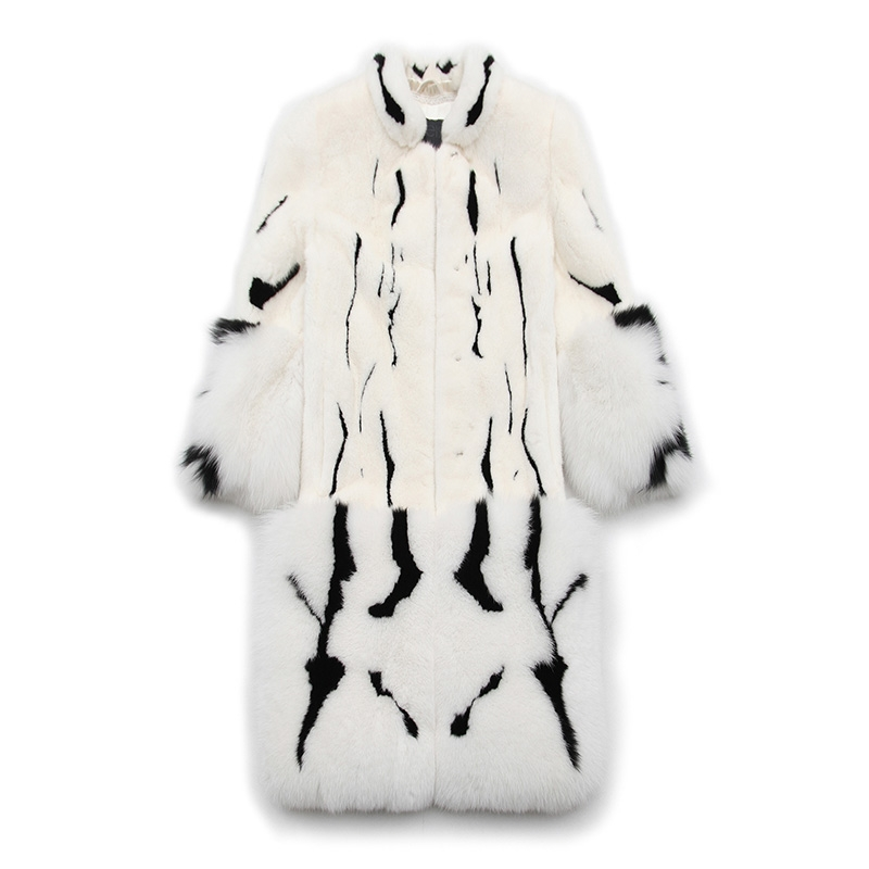 Mink Fur Long Coat With Fox Fur Trim 0094-8