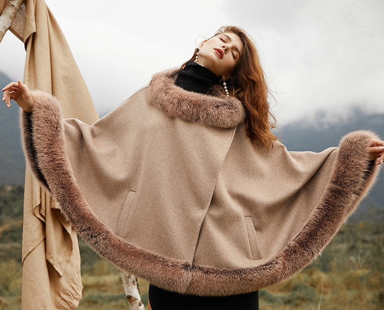 Fox Fur Trim Cashmere Cape 0106-1