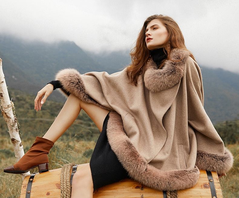 Fox Fur Trim Cashmere Cape 0106-2