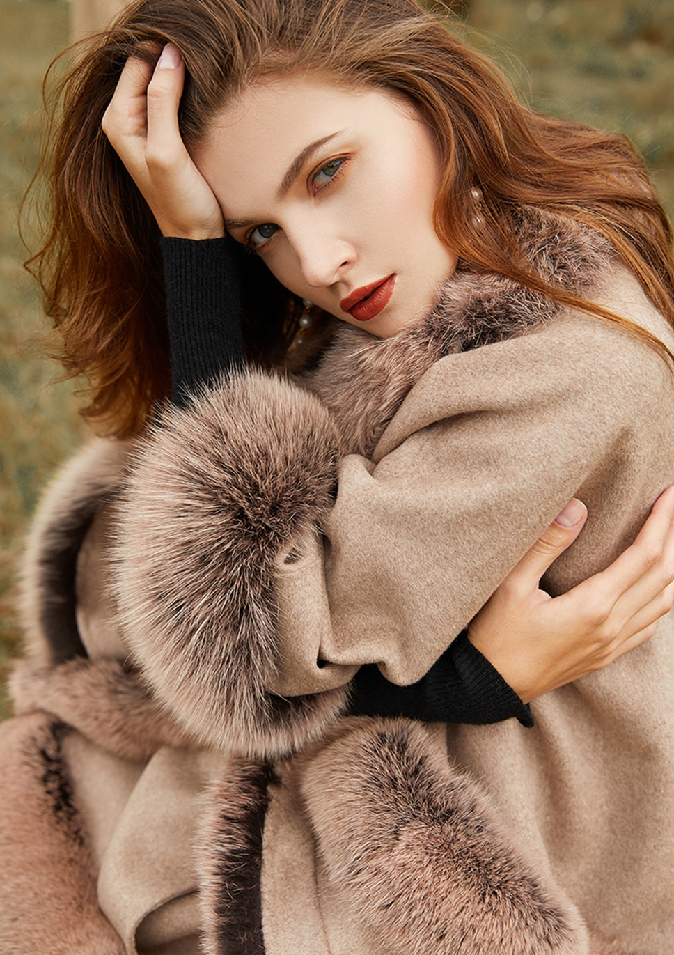 Fox Fur Trim Cashmere Cape 0106-4