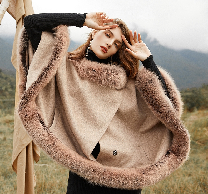 Fox Fur Trim Cashmere Cape 0106-6