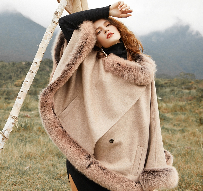 Fox Fur Trim Cashmere Cape 0106-7