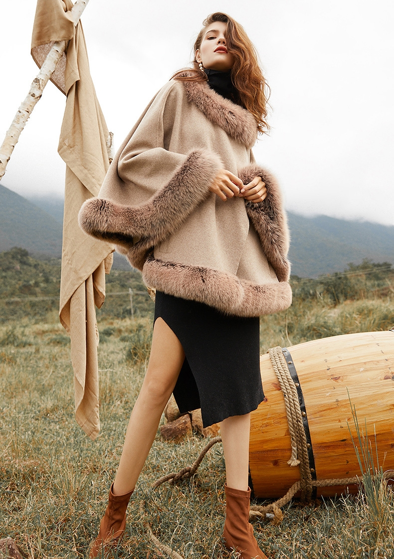 Fox Fur Trim Cashmere Cape 0106-8