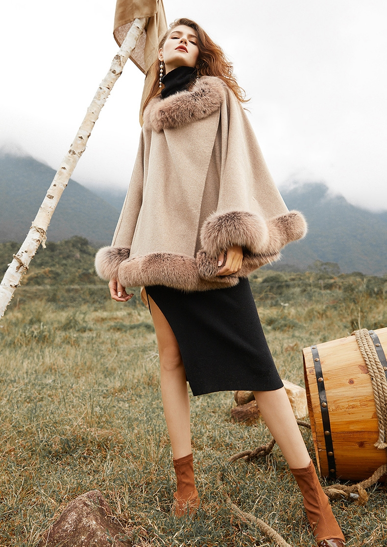 Fox Fur Trim Cashmere Cape 0106-9