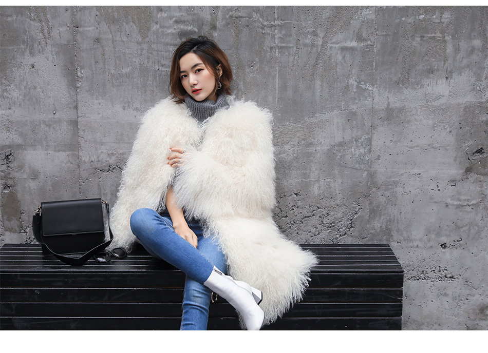 3-4 Length Tibet Sheep Fur Long Coat 011 Details 1