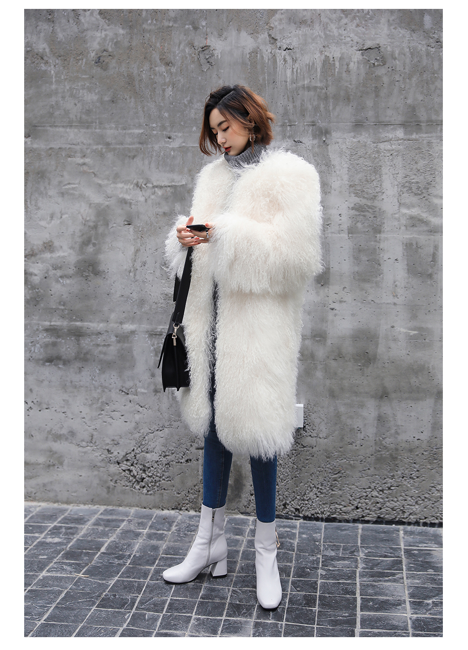 3-4 Length Tibet Sheep Fur Long Coat 011 Details 11