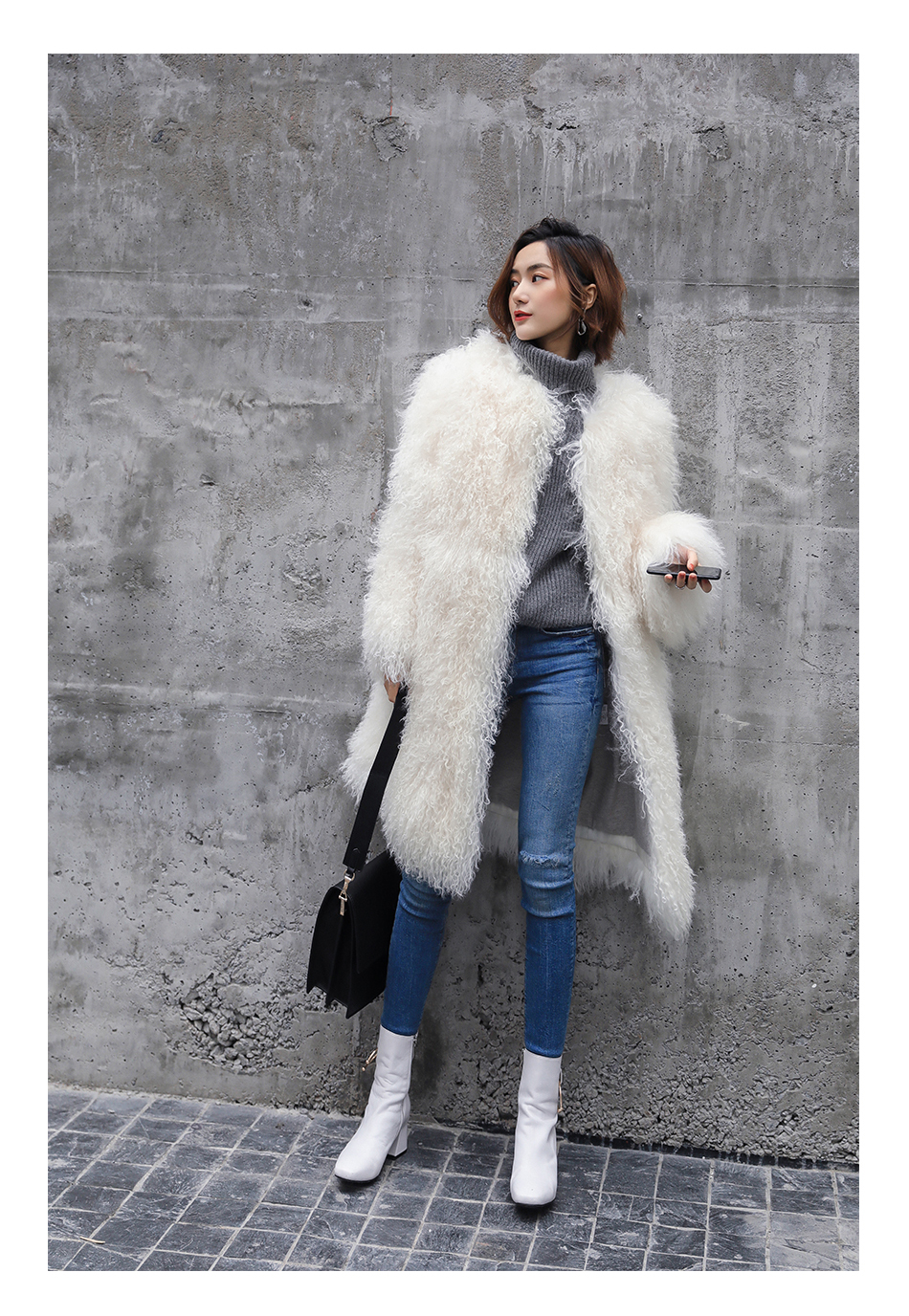 3-4 Length Tibet Sheep Fur Long Coat 011 Details 12