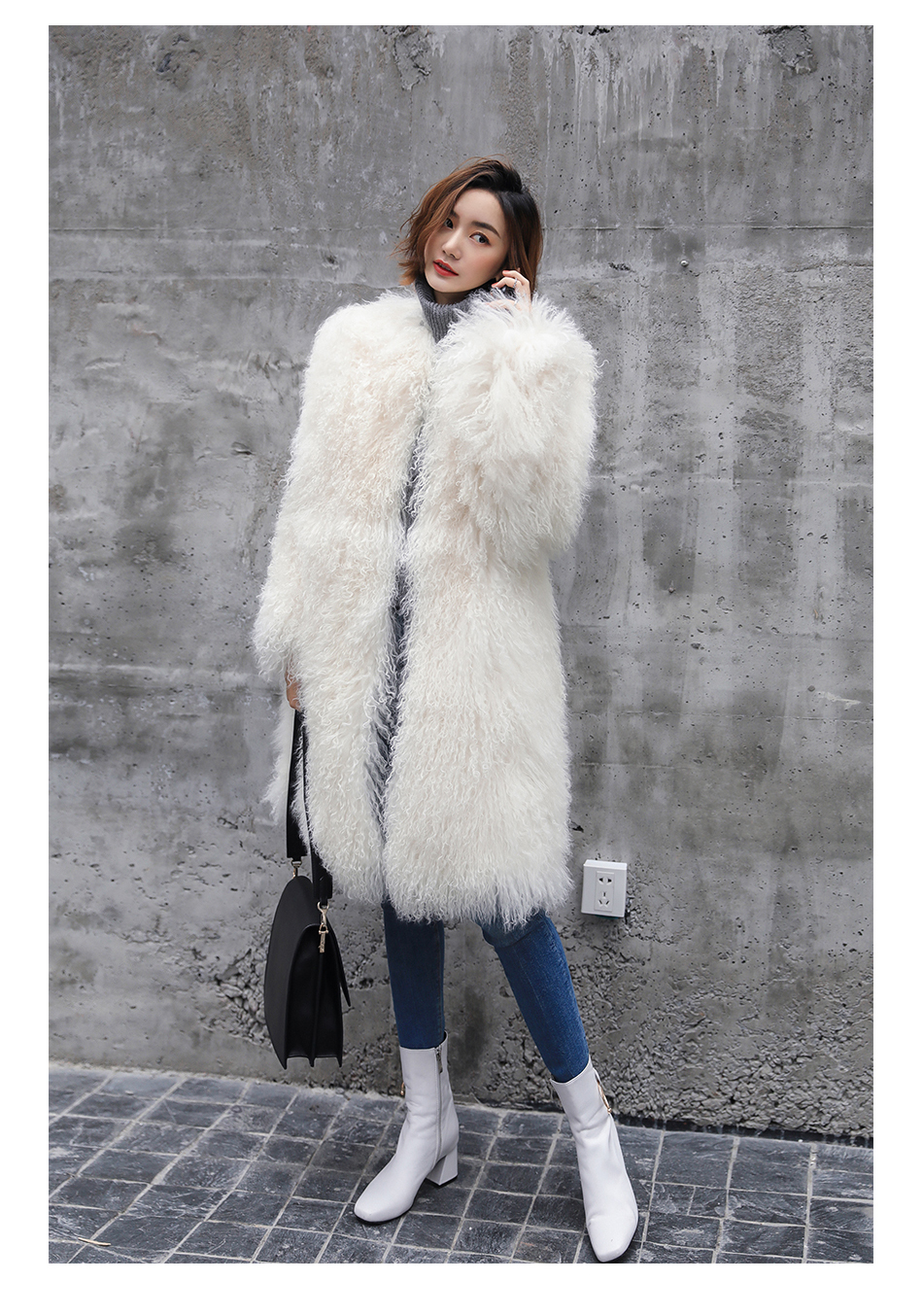 3-4 Length Tibet Sheep Fur Long Coat 011 Details 13
