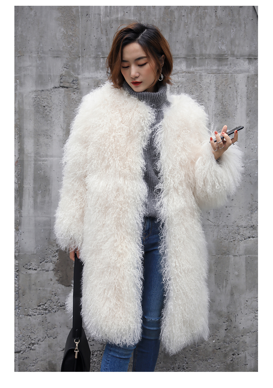3-4 Length Tibet Sheep Fur Long Coat 011 Details 14