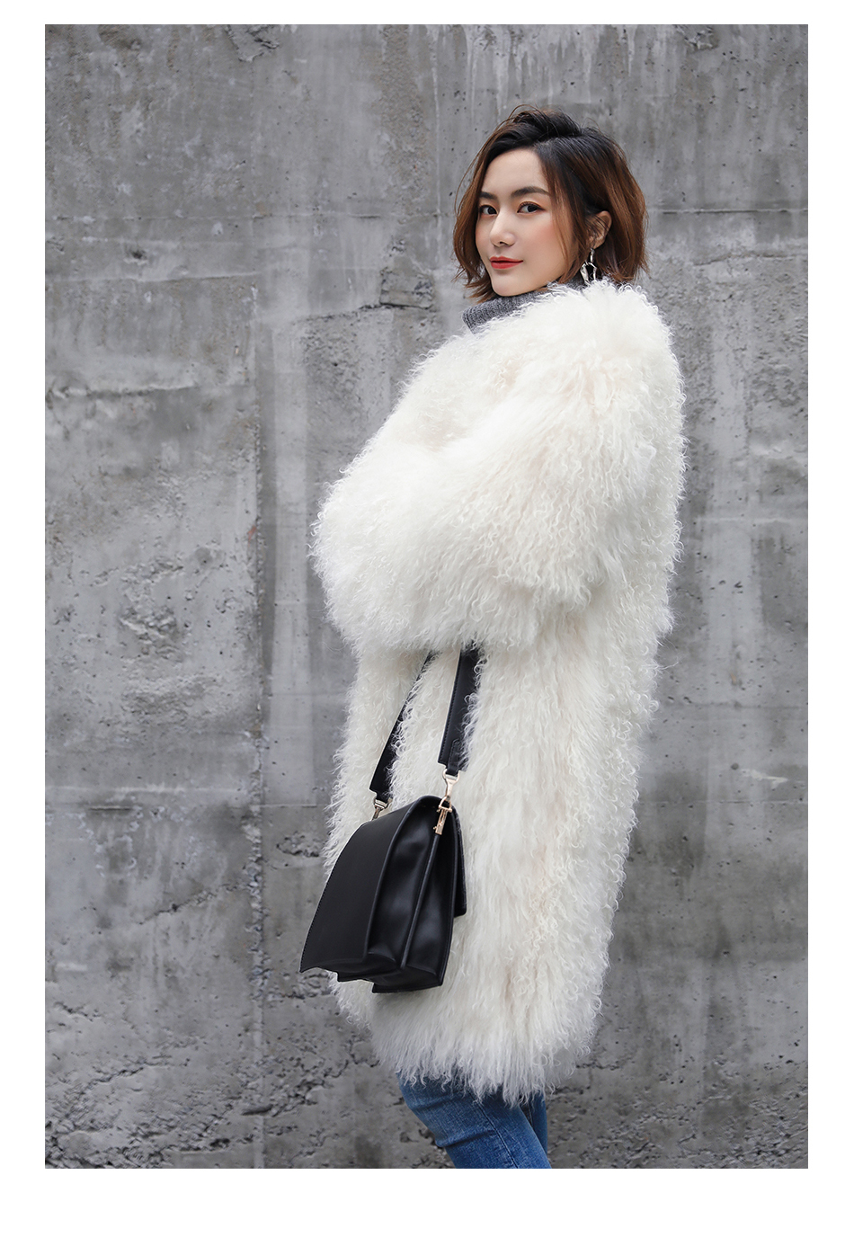 3-4 Length Tibet Sheep Fur Long Coat 011 Details 15