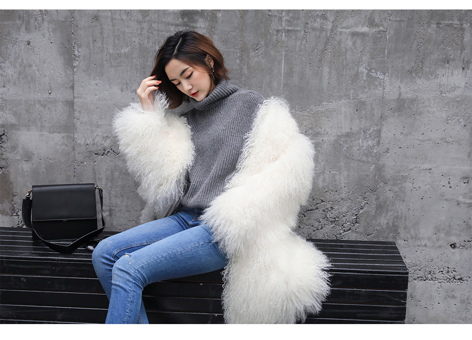 3-4 Length Tibet Sheep Fur Long Coat 011 Details 2