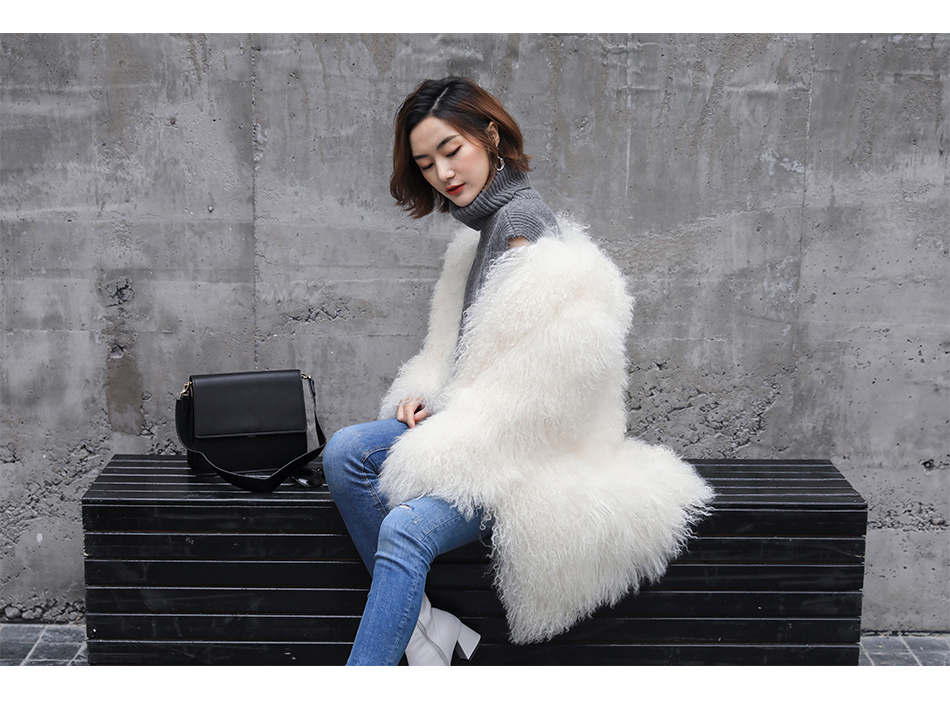 3-4 Length Tibet Sheep Fur Long Coat 011 Details 3