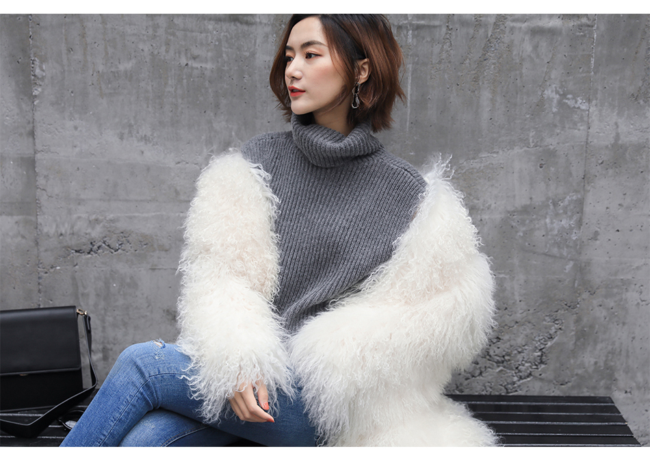 3-4 Length Tibet Sheep Fur Long Coat 011 Details 4