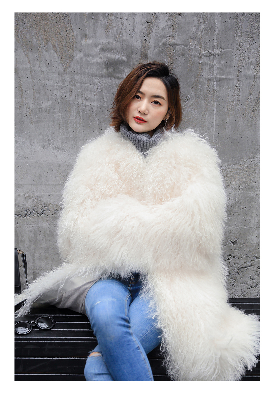 3-4 Length Tibet Sheep Fur Long Coat 011 Details 6