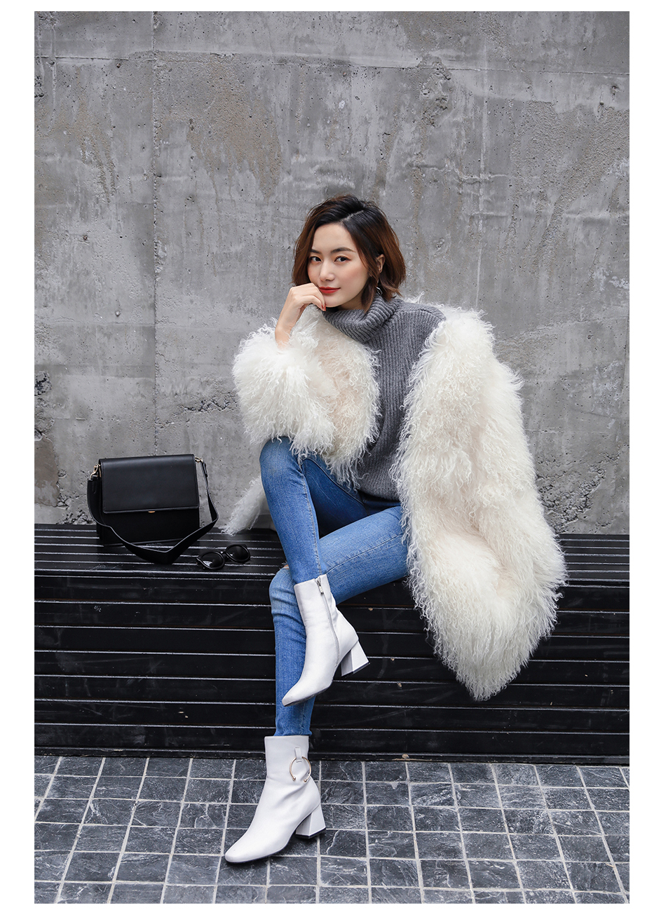 3-4 Length Tibet Sheep Fur Long Coat 011 Details 7