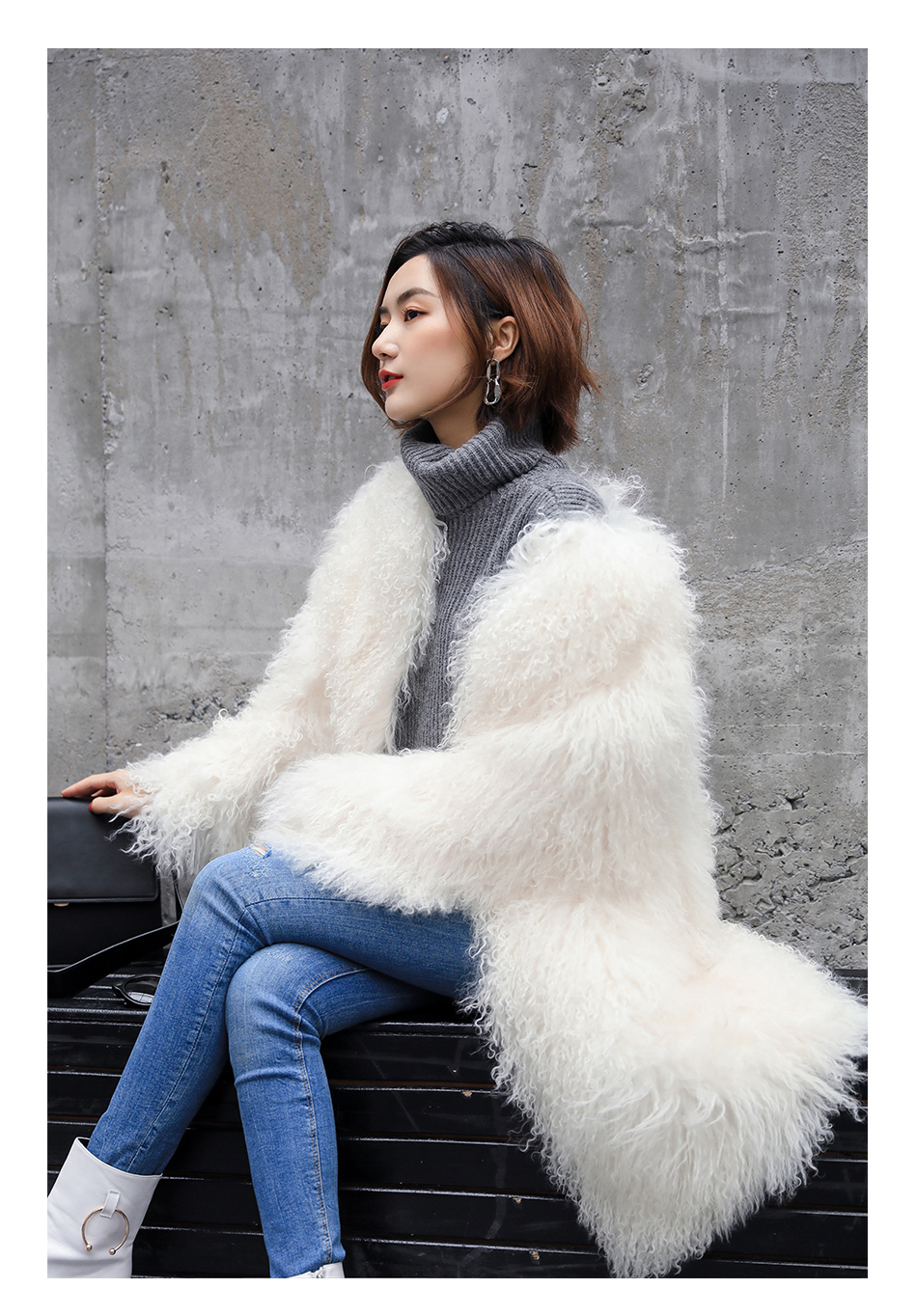 3-4 Length Tibet Sheep Fur Long Coat 011 Details 8