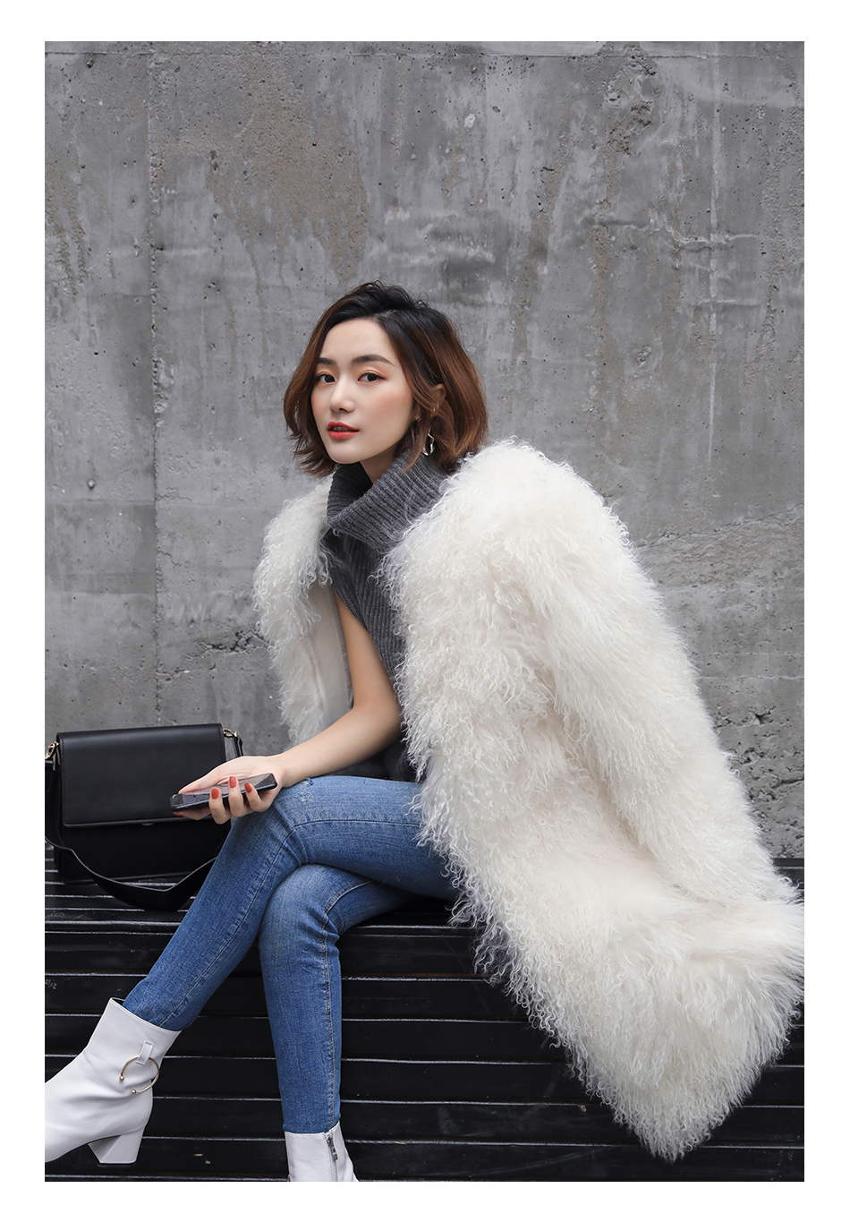 3-4 Length Tibet Sheep Fur Long Coat 011 Details 9