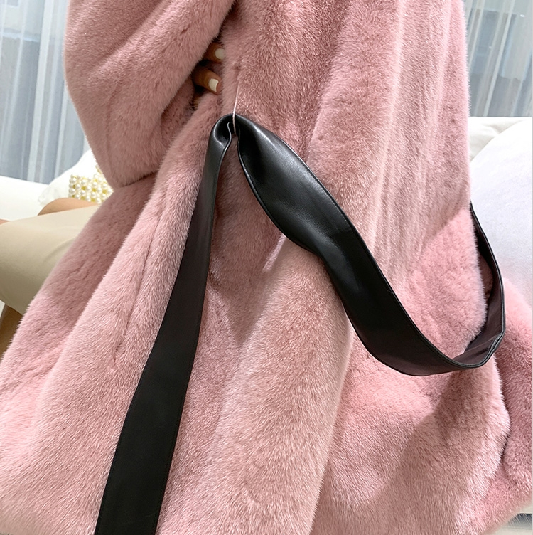 Mink Fur Coat with Leather Belt 0110-7