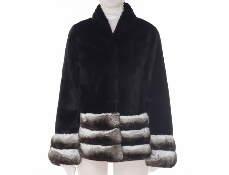 Mink Fur Jacket with Chinchilla Fur Trim 0115-12