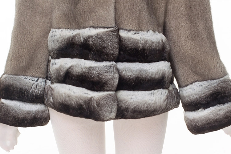 Mink Fur Jacket with Chinchilla Fur Trim 0115-13
