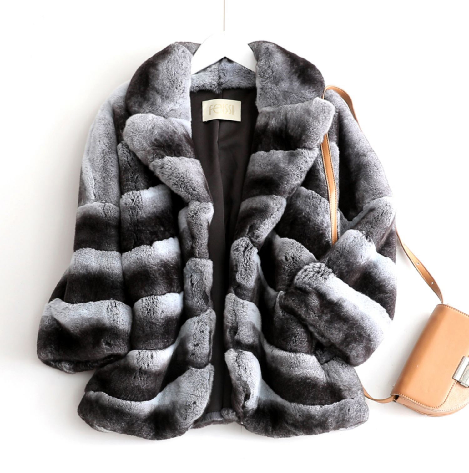 Rex Rabbit Fur Jacket with Chinchilla Look 0117-1