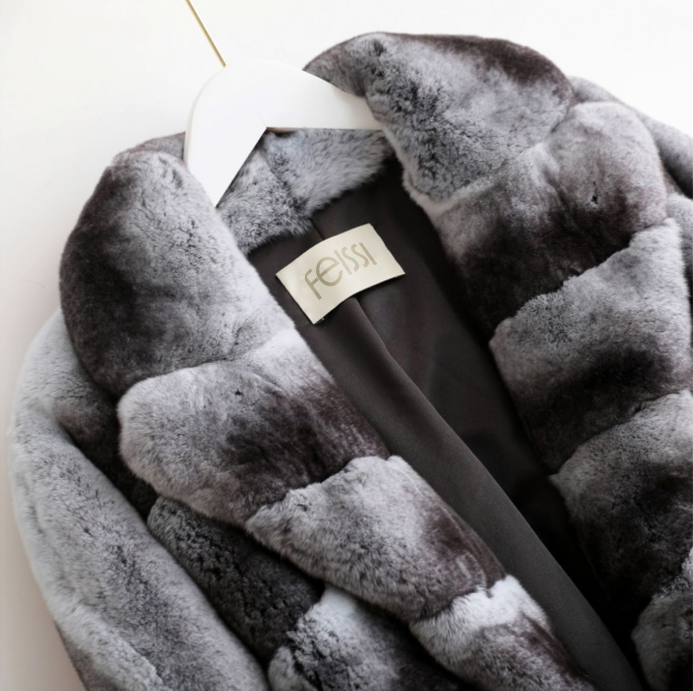 Rex Rabbit Fur Jacket with Chinchilla Look 0117-2