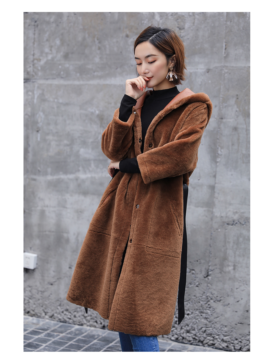 3-4 Length Merino Shearling Sheepskin Long Coat 012 Details 10