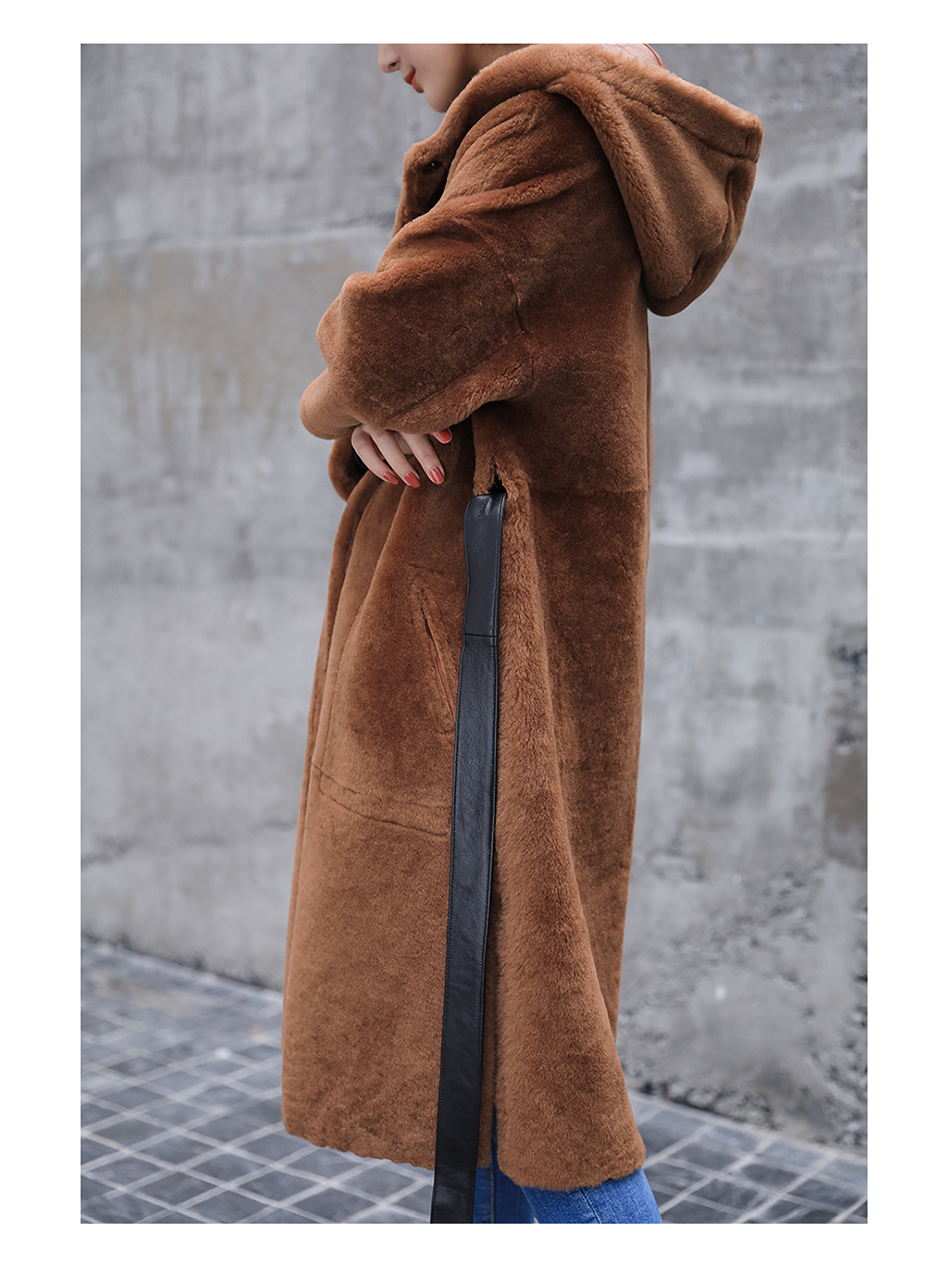 3-4 Length Merino Shearling Sheepskin Long Coat 012 Details 11