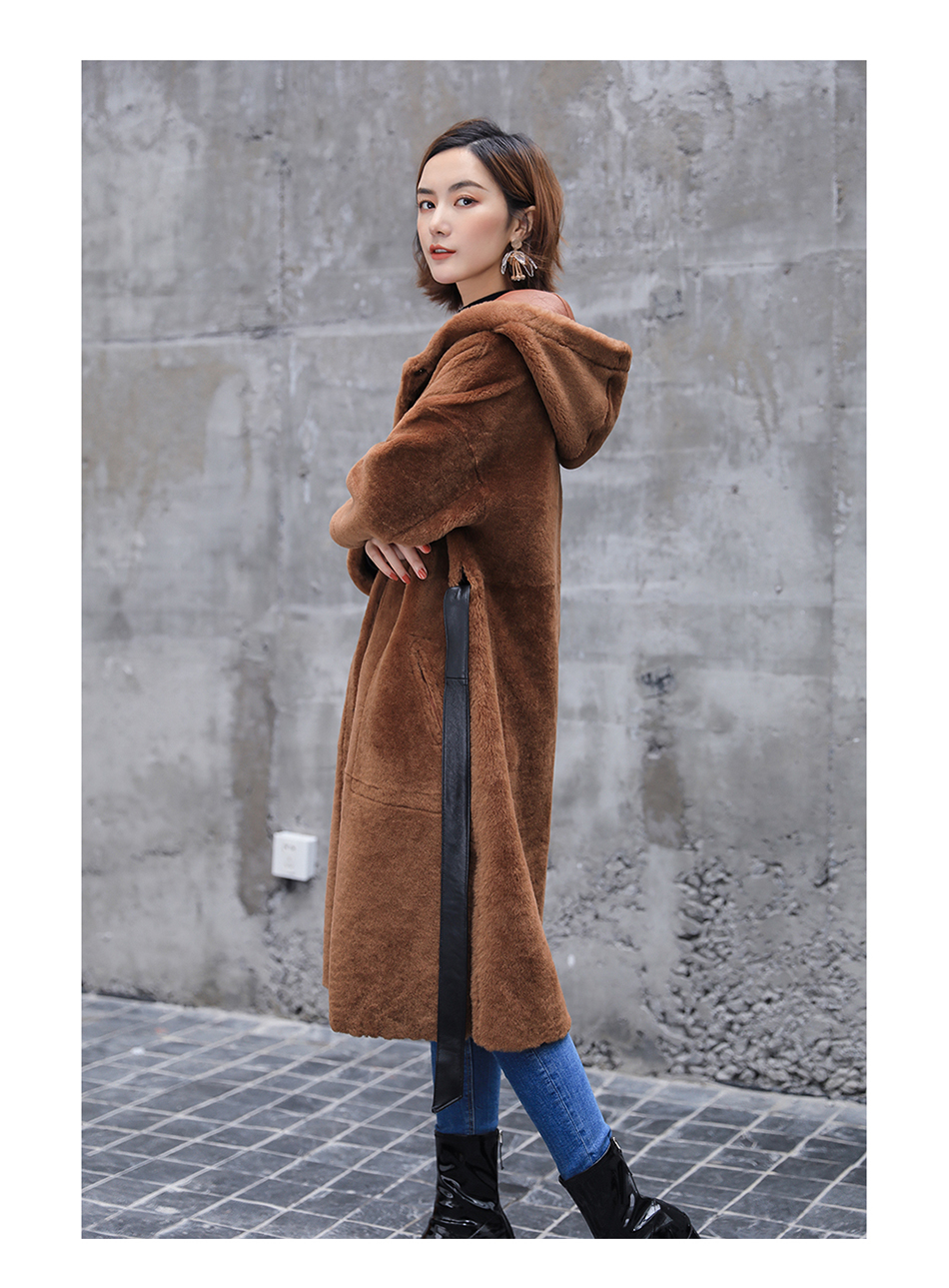 3-4 Length Merino Shearling Sheepskin Long Coat 012 Details 12