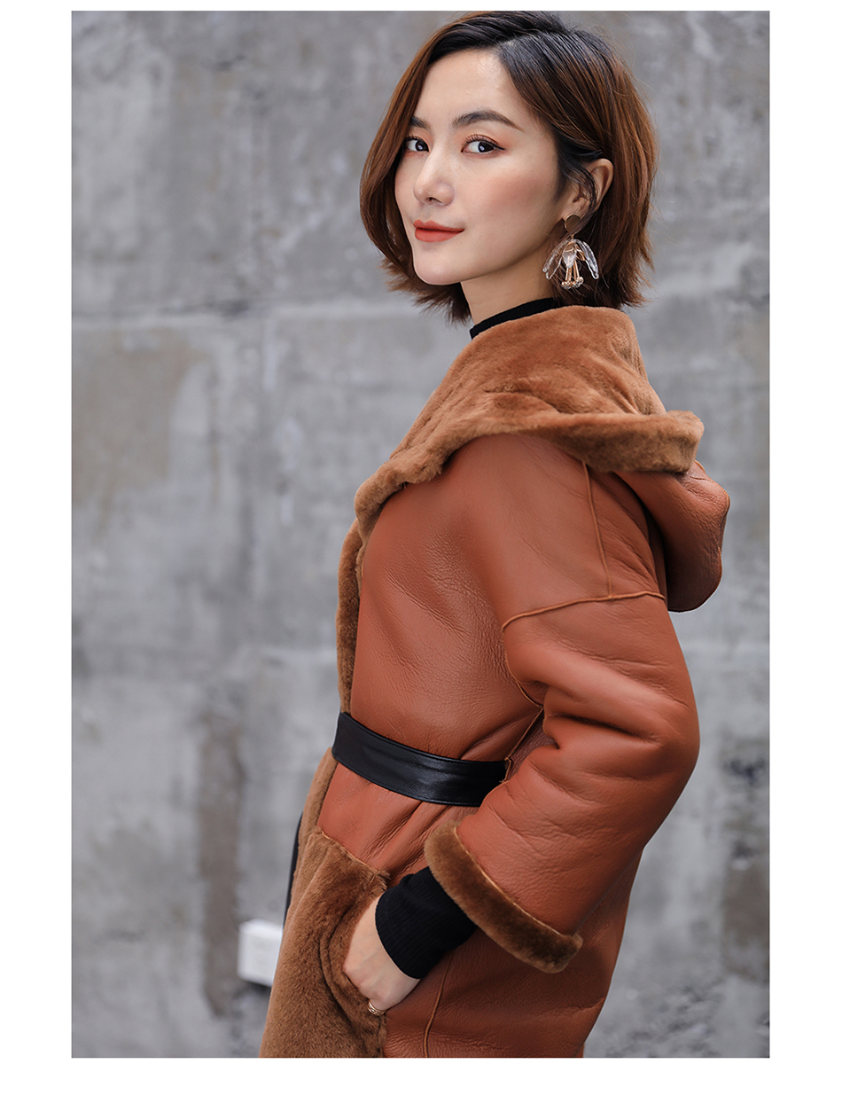 3-4 Length Merino Shearling Sheepskin Long Coat 012 Details 15