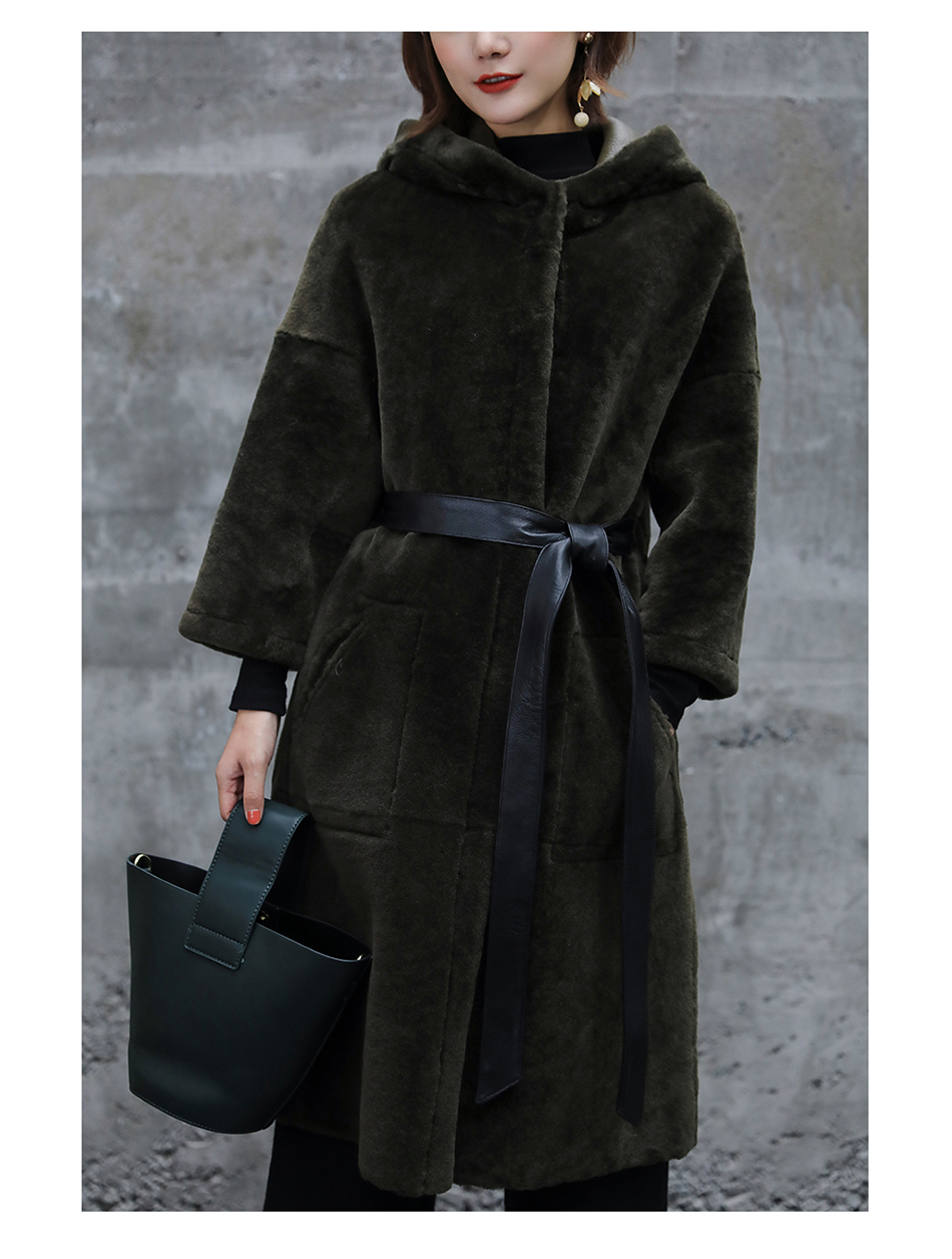 3-4 Length Merino Shearling Sheepskin Long Coat 012 Details 22