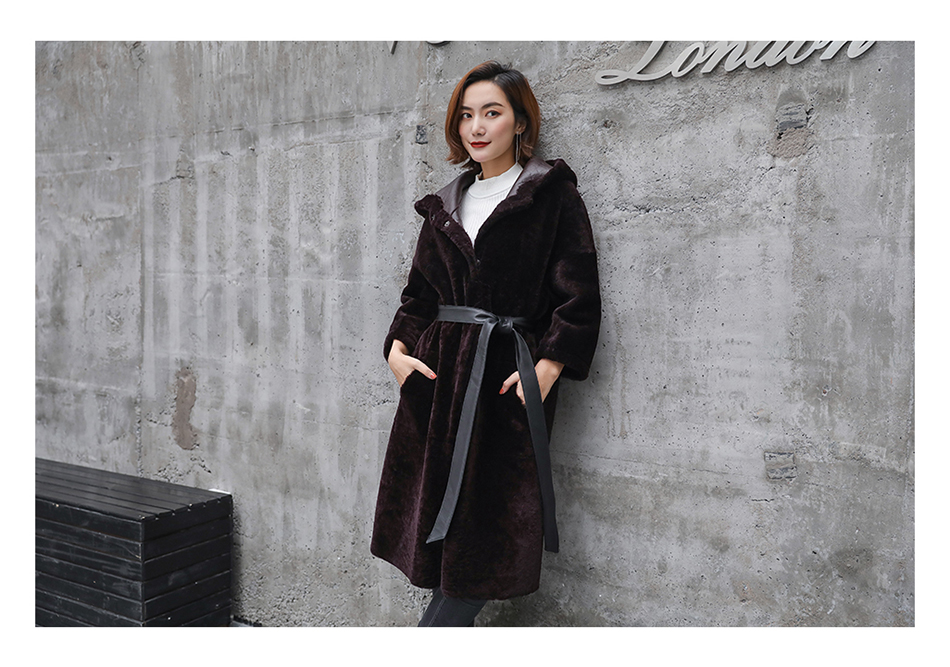 3-4 Length Merino Shearling Sheepskin Long Coat 012 Details 23
