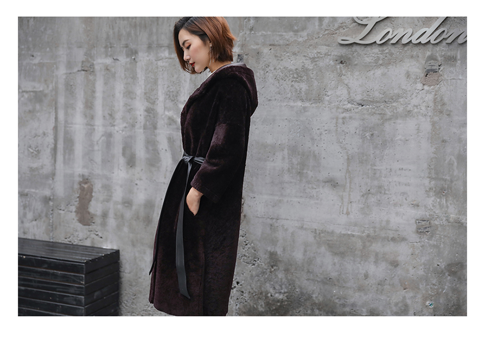 3-4 Length Merino Shearling Sheepskin Long Coat 012 Details 25