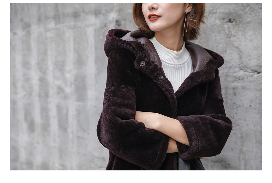 3-4 Length Merino Shearling Sheepskin Long Coat 012 Details 26