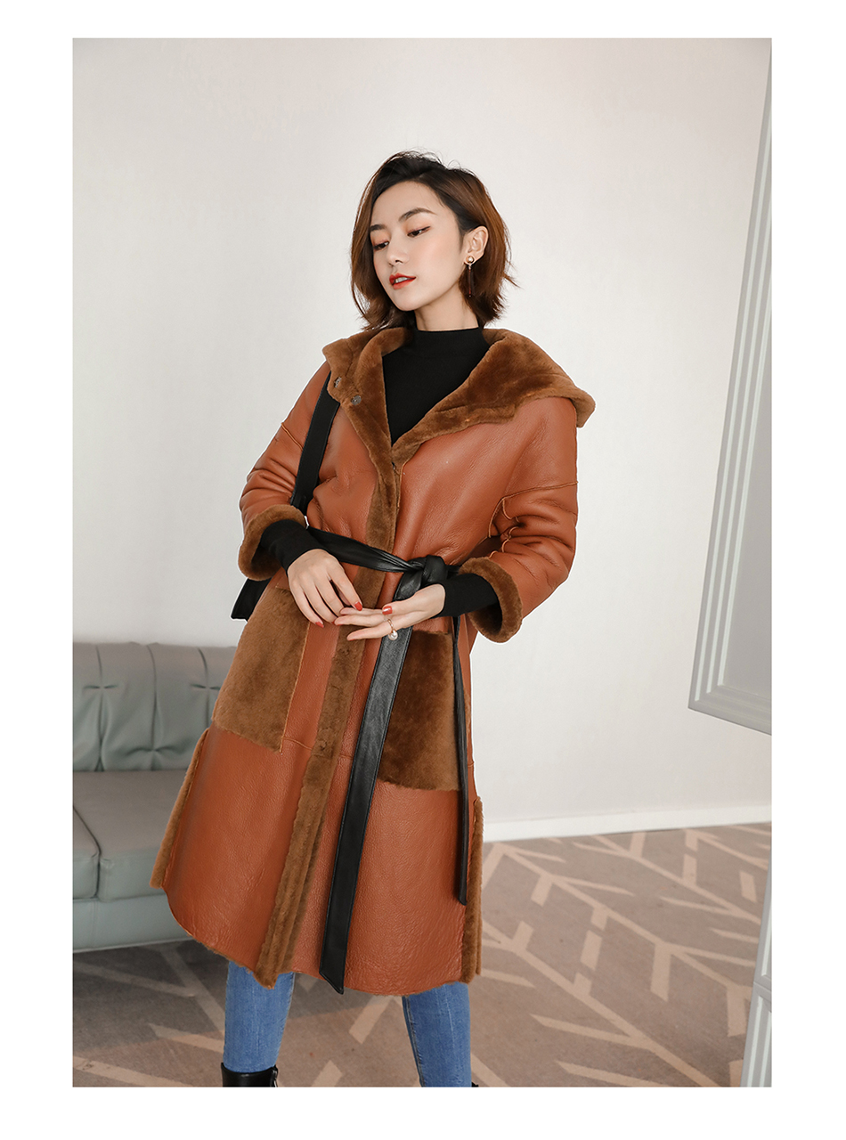 3-4 Length Merino Shearling Sheepskin Long Coat 012 Details 3