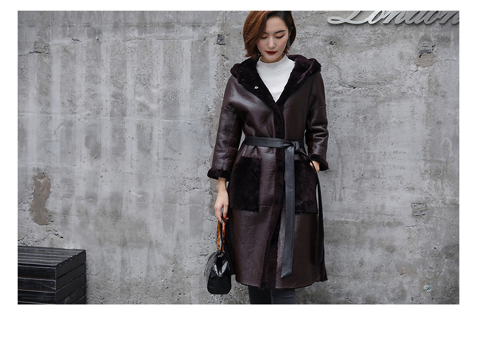3-4 Length Merino Shearling Sheepskin Long Coat 012 Details 30
