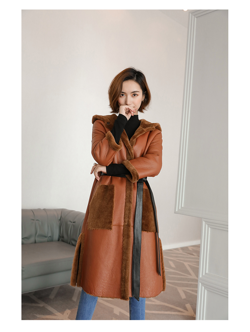 3-4 Length Merino Shearling Sheepskin Long Coat 012 Details 4